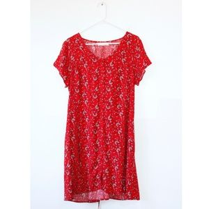 Band of Gypsies Red Short Sleeve Paisley Dress L